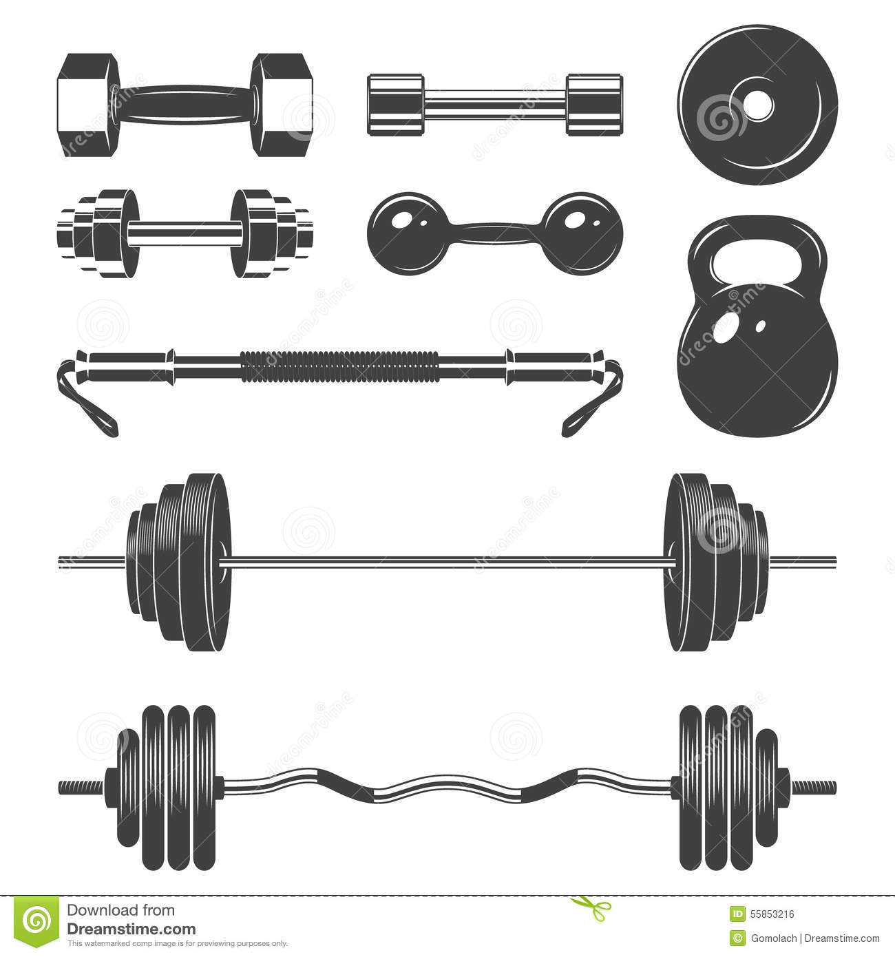 Free Weights Your Design Lyrics: Set Of Sign Weights For Fitness Or Gym Design Stock Vector