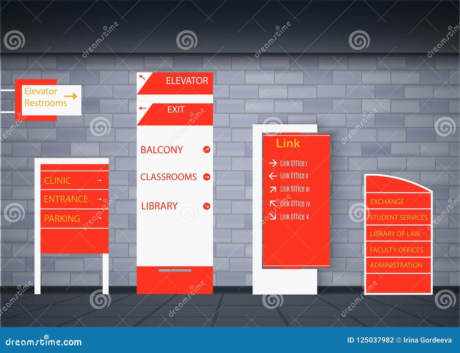 Set Signage Design Stock Vector Illustration Of Mall