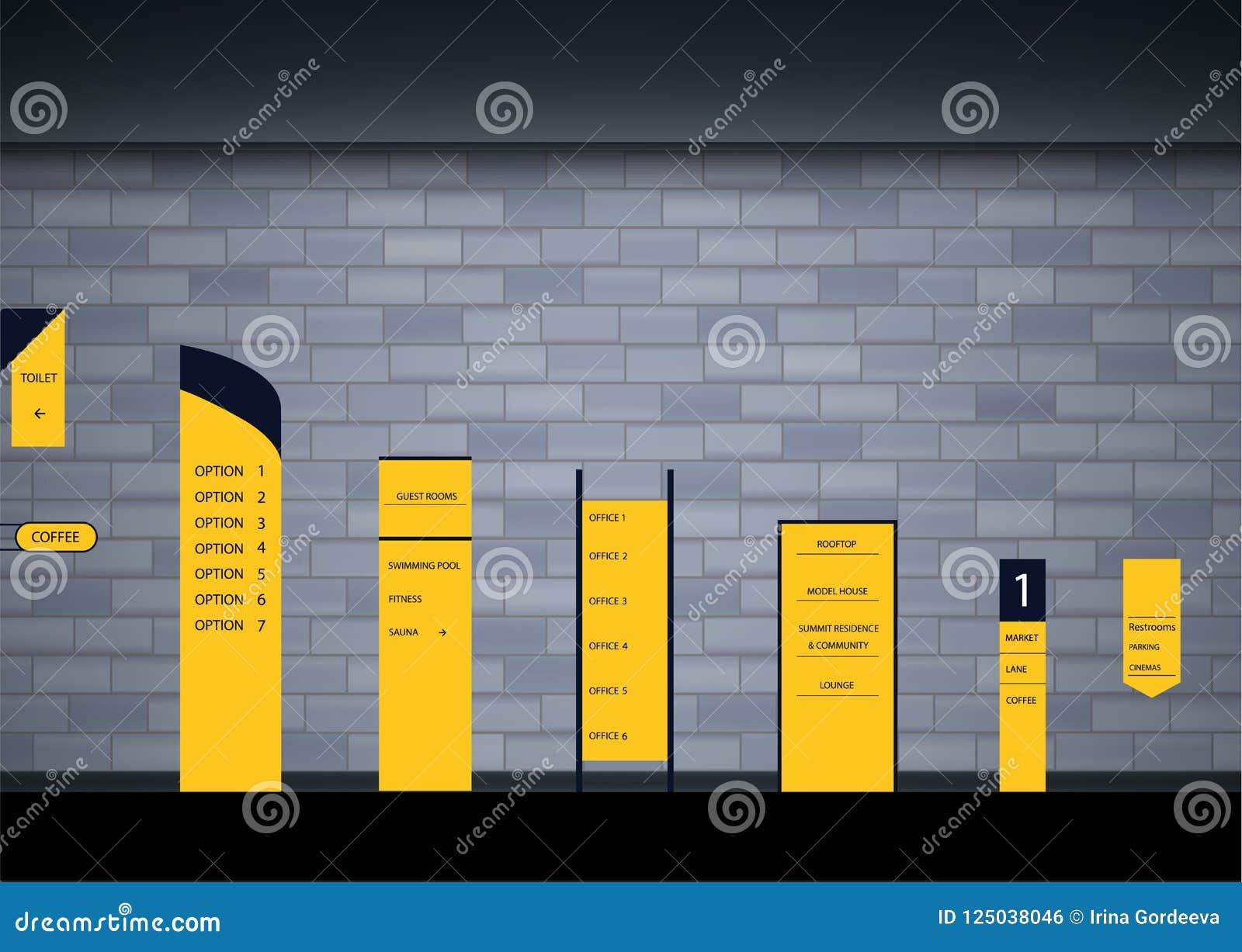 Set Signage Design Stock Vector Illustration Of Directory