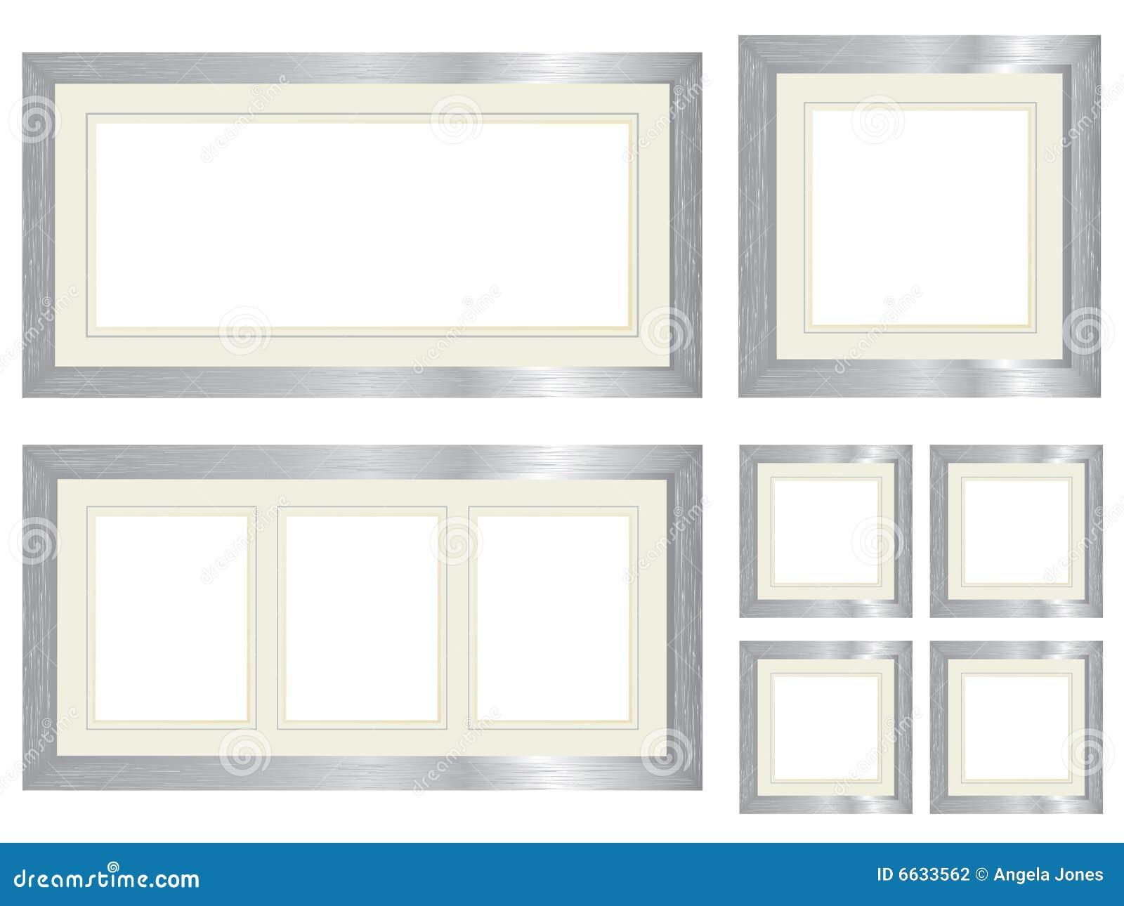Set silberne Bilderrahmen vektor abbildung. Illustration von ...