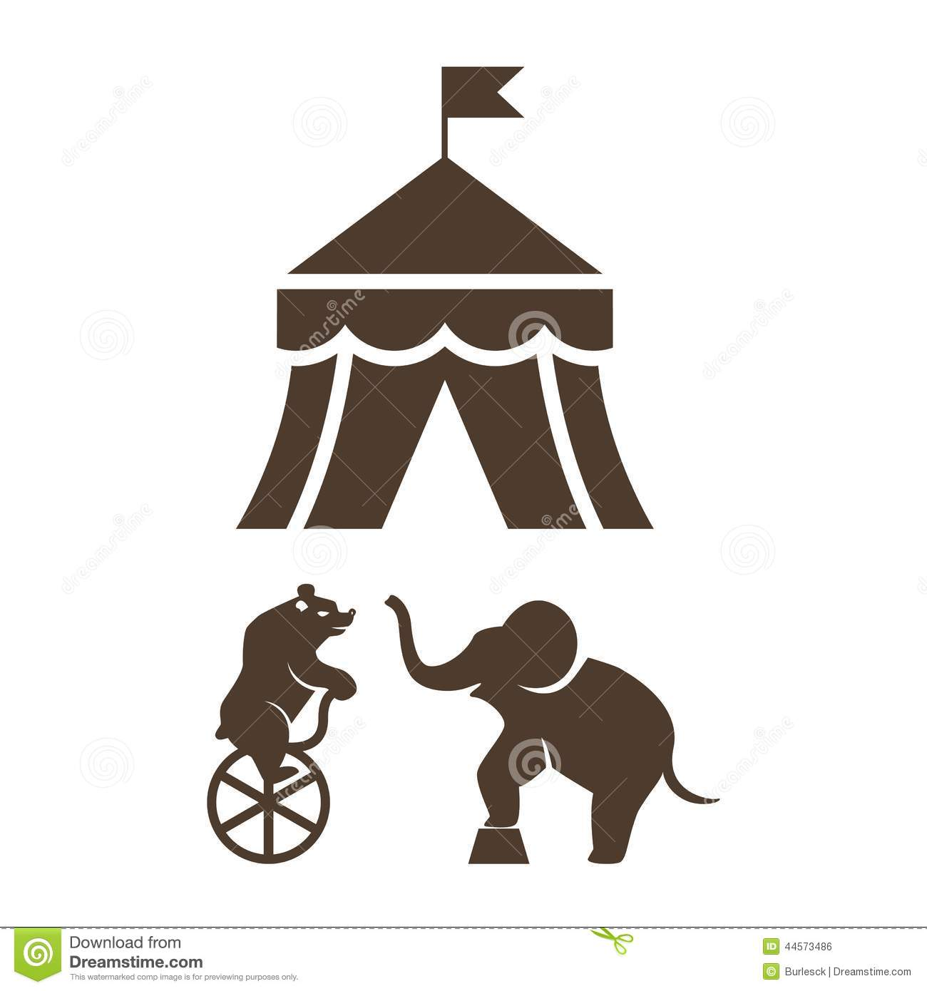 Set of black vector silhouette circus icons with a bear riding a ...