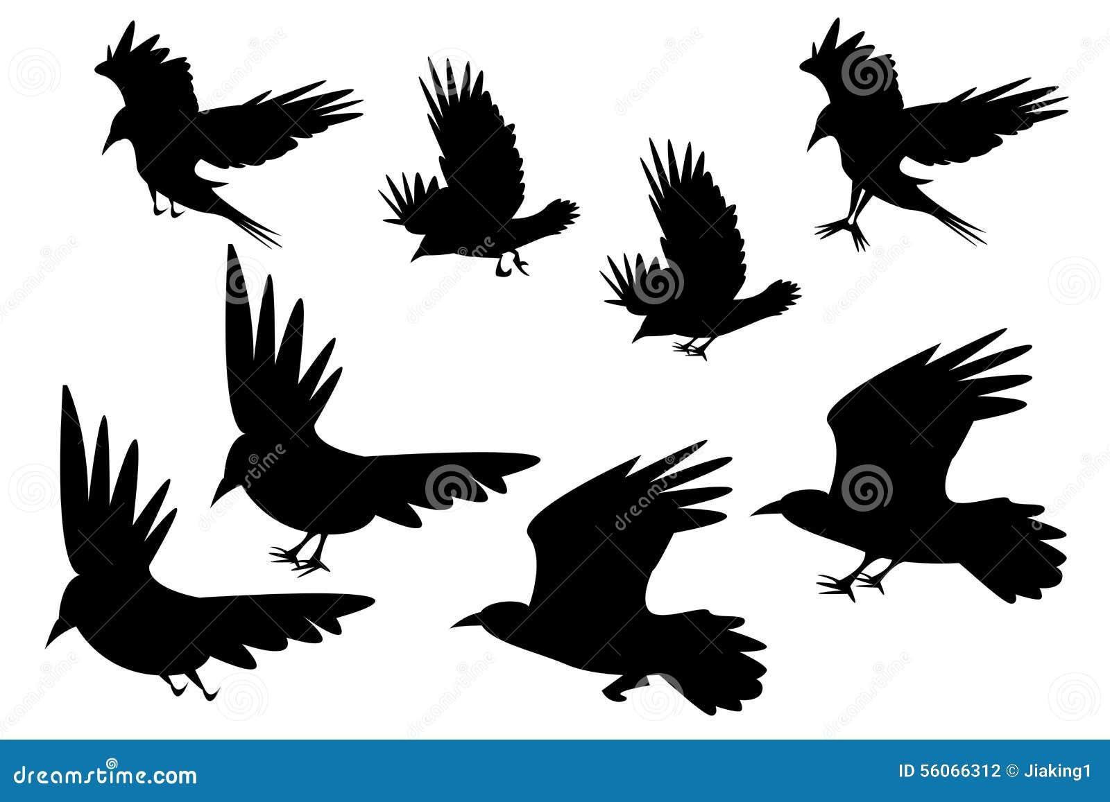 Ravens Flying Silhouette