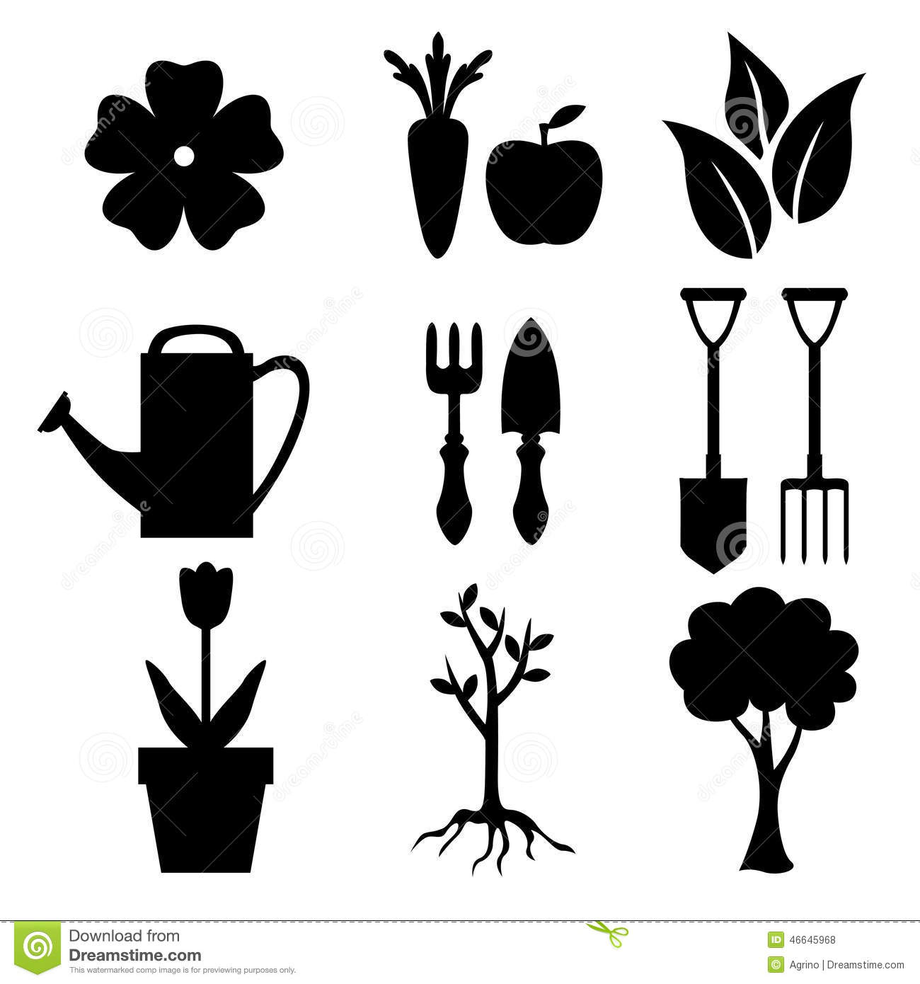 Set Of Silhouette Garden And Nature Icon Stock Vector