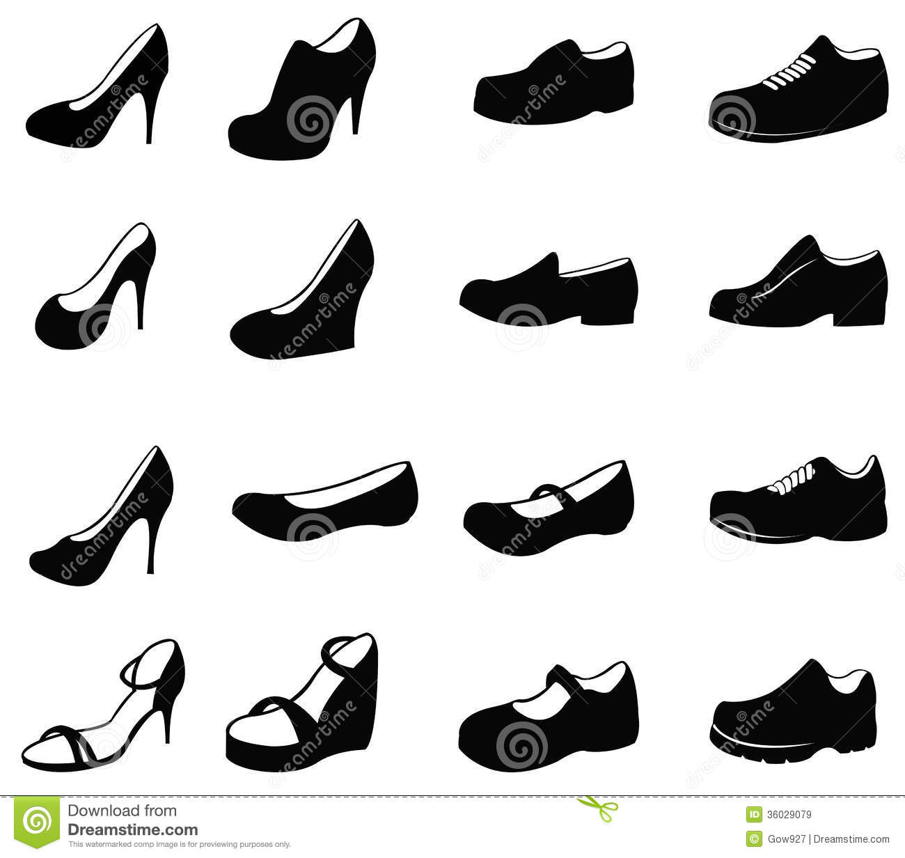Set Of Silhouette Shoes Icon Royalty Free Stock Images
