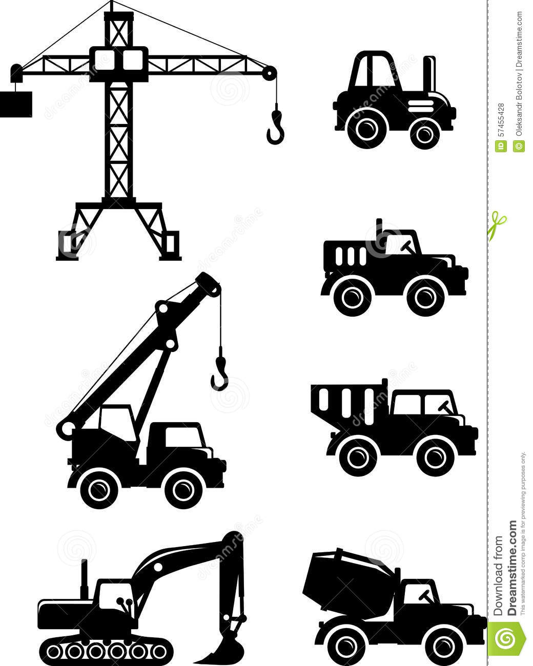 Set Of Silhouette Toys Heavy Construction Machines Stock