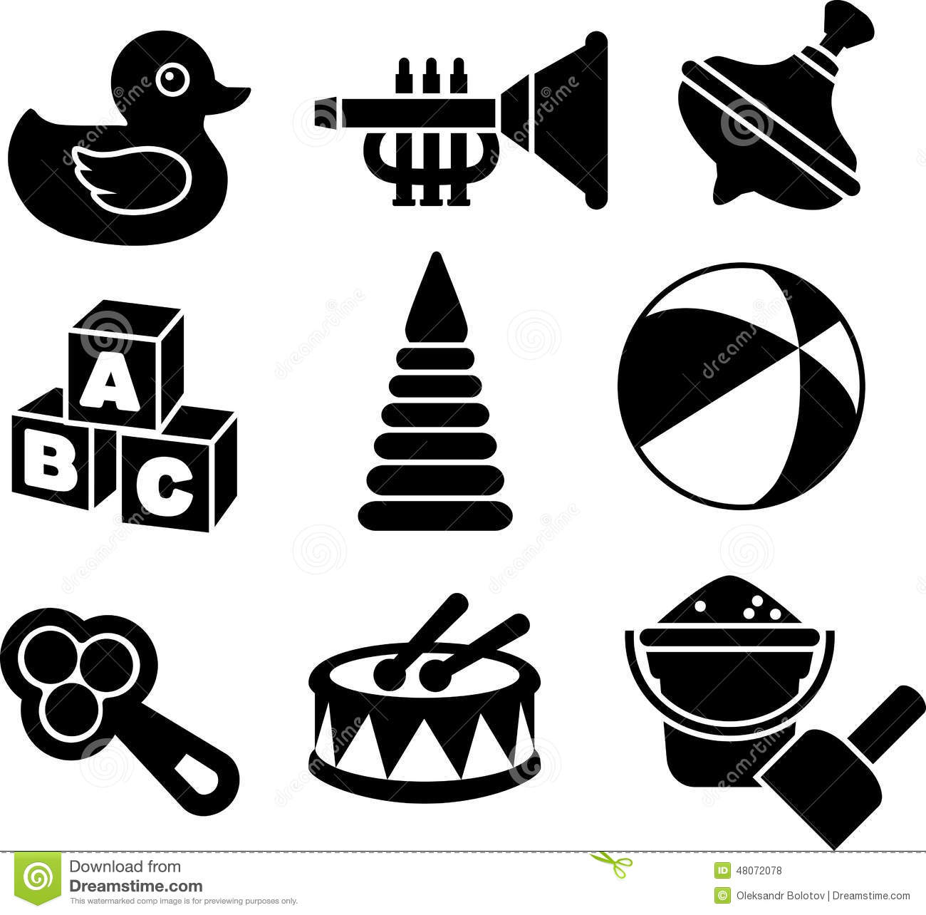 Set Of Silhouette Toys Stock Vector Illustration Of Drum 48072078