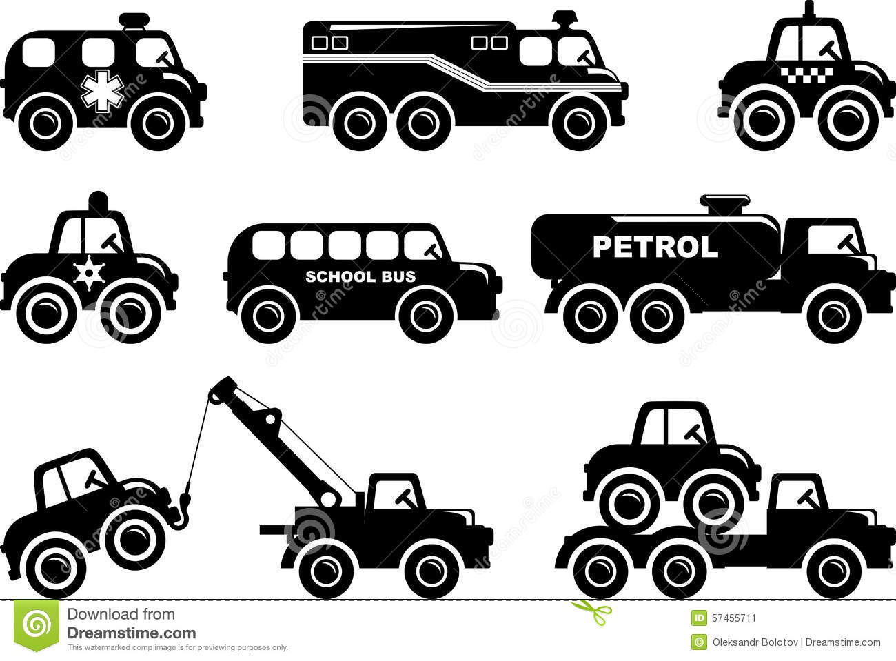 Set Of Silhouette Toys Transport In A Flat Style Stock ...