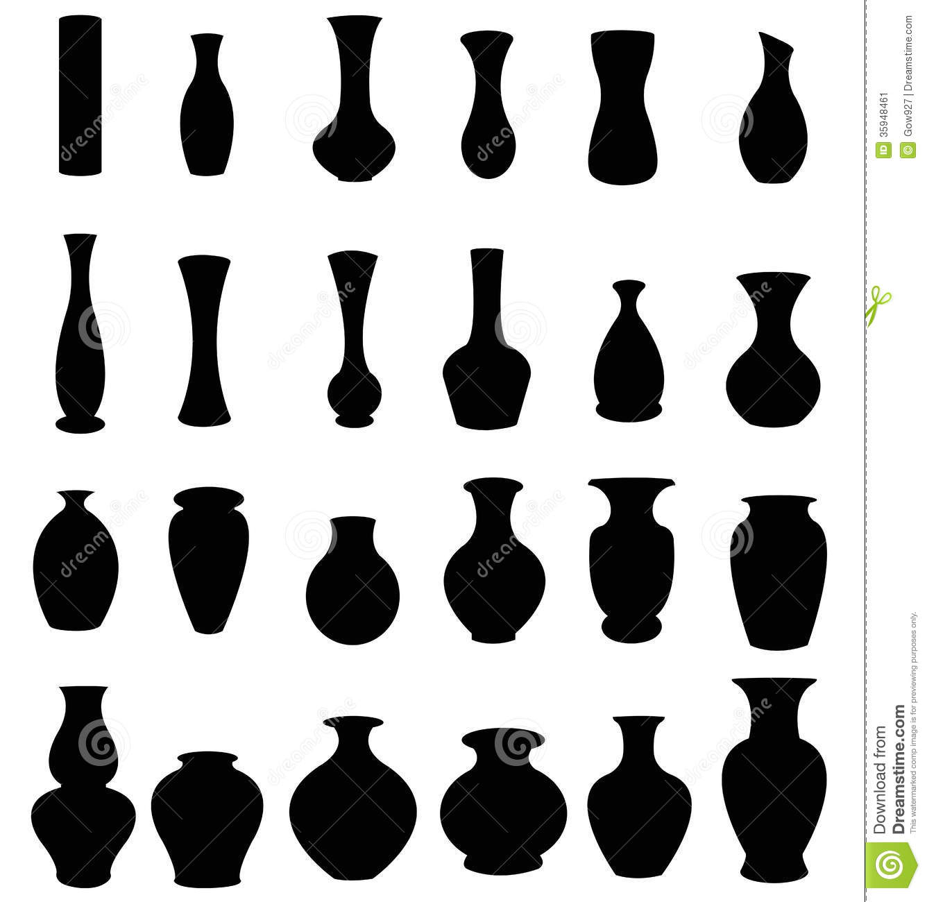 Set Of Silhouette Vases And Bottles Icon Stock Image Image 35948461