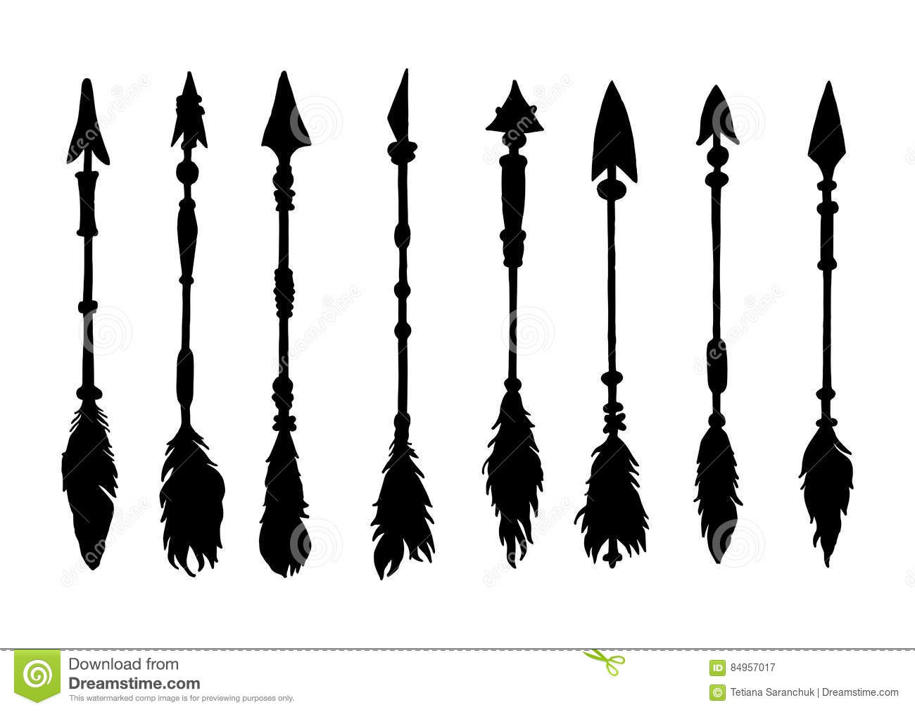 Set Of Silhouettes American Indian Arrows Stock Vector ...