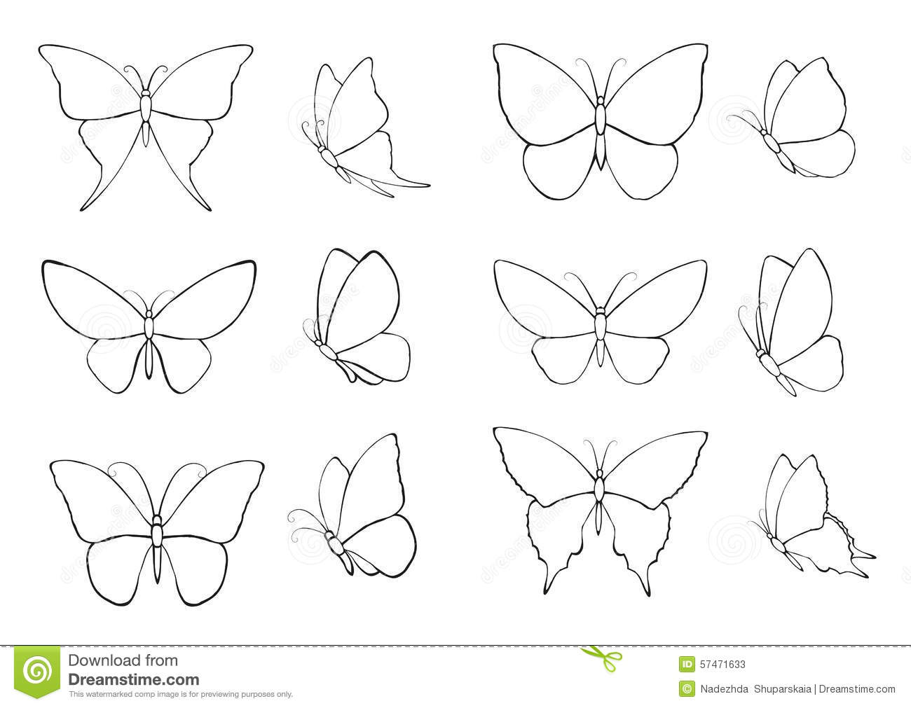 set with silhouettes of butterflies stock photo image 57471633