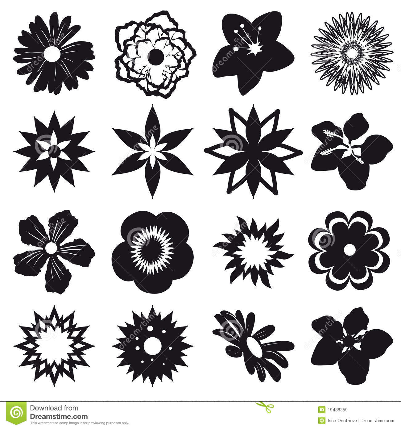 Set Silhouettes Flowers Royalty Free Stock Image