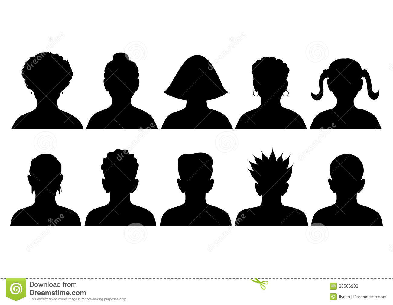 set of silhouettes of heads stock vector illustration of person