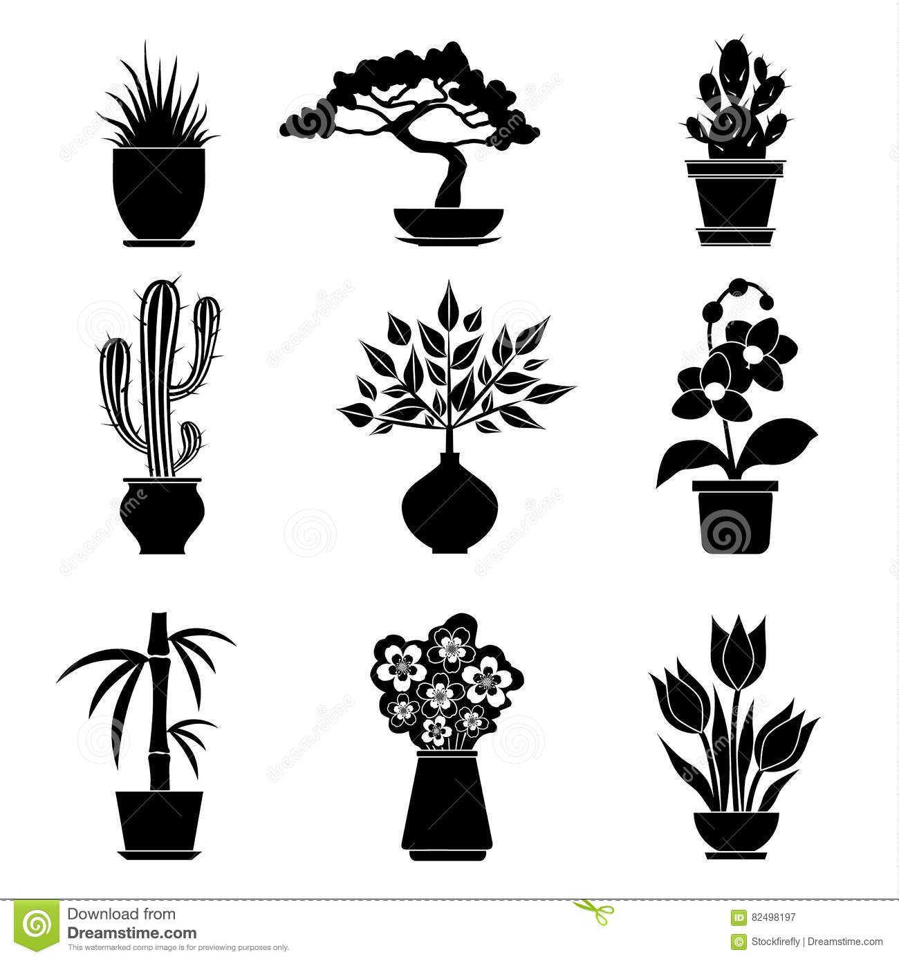 Set Of Silhouettes Of House Plants Vector Stock Vector