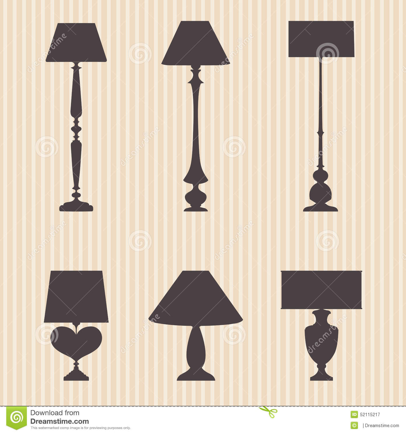Wall Sconce Electrical Symbol : Set Of Silhouettes Lamp And Sconce Stock Vector - Image: 52115217