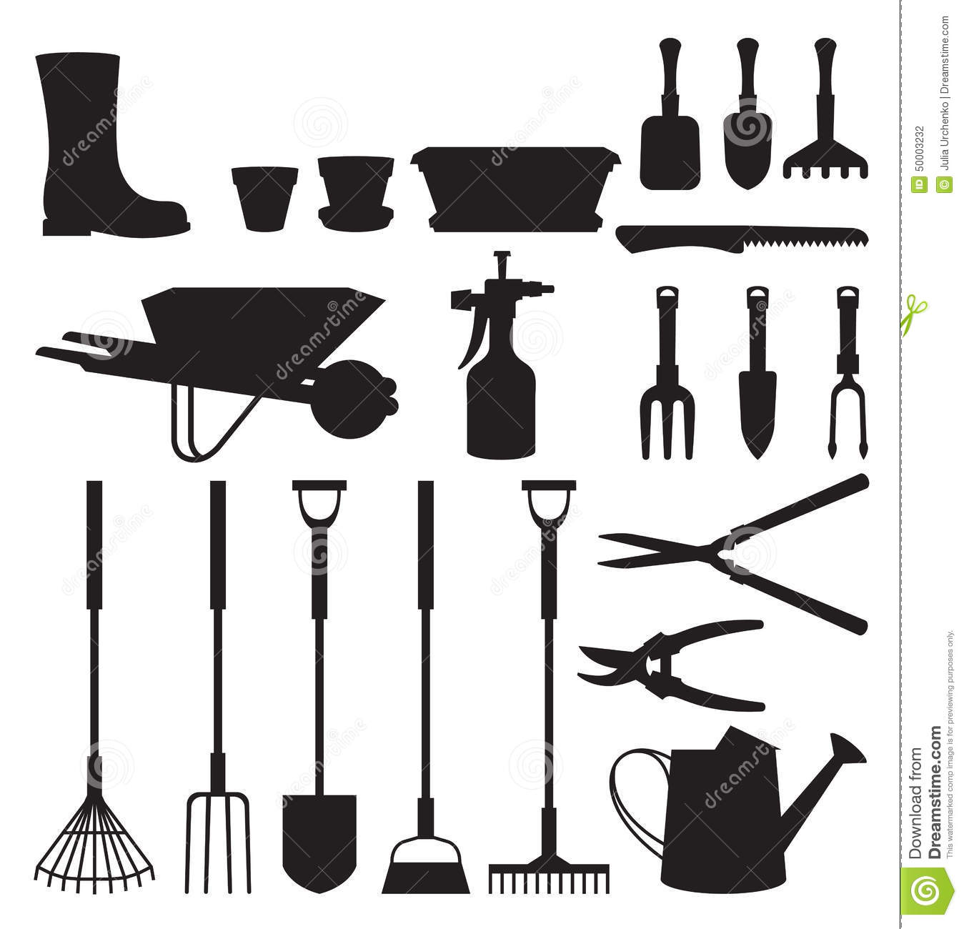 Set of silhouettes of objects garden tools stock vector for Gardening tools vector