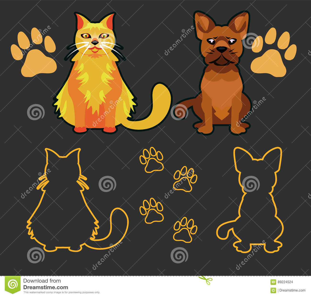 Cartoon Characters Looking Forward : Set of silhouettes pets cat and dog stock vector