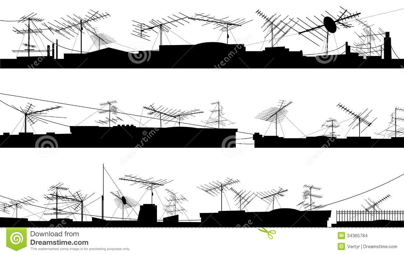 Set Of Silhouettes Of Roof With Antennas Stock Images
