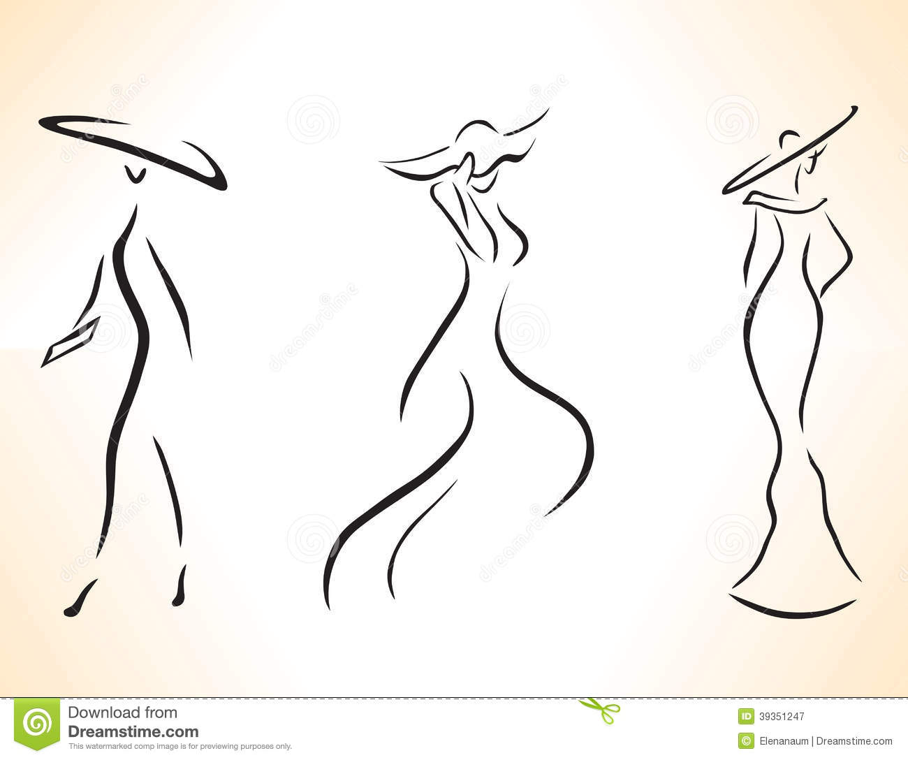Vector Drawing Lines Review : Set of silhouettes stock vector illustration
