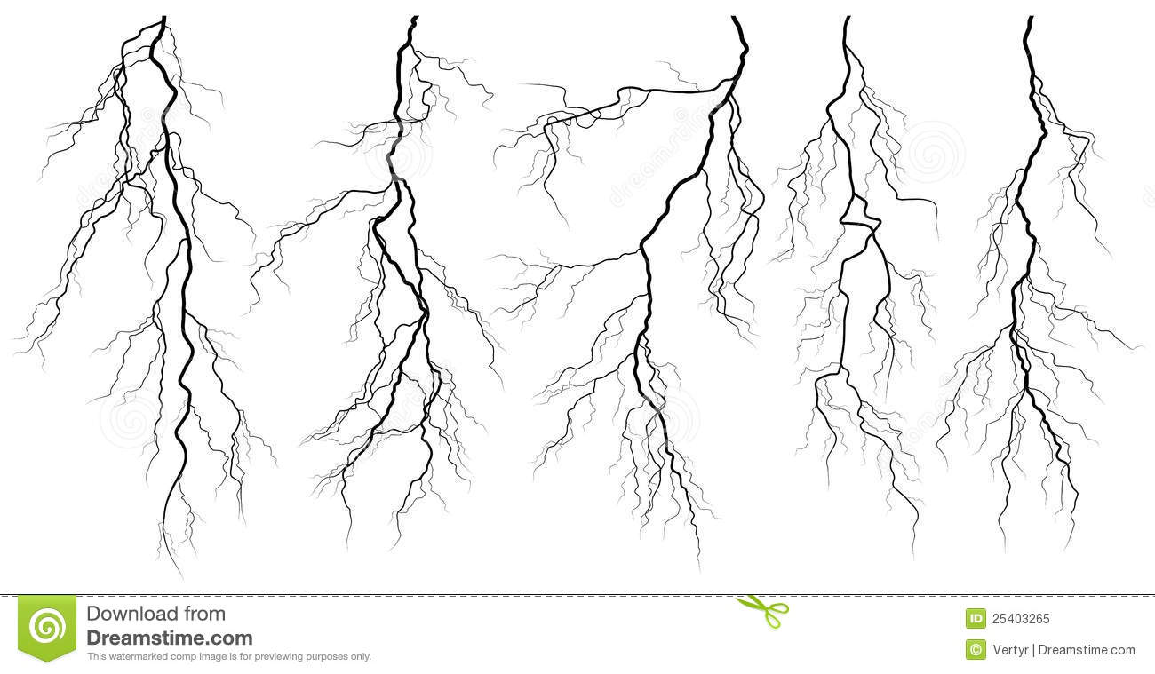 set of silhouettes of thunderstorm lightning  stock vector