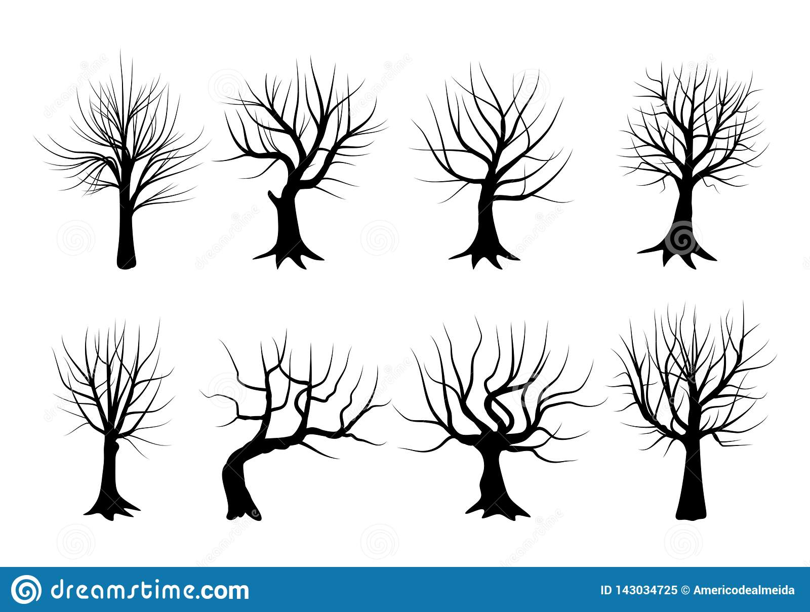 Set of silhouettes of trees in winter, stripped of their leaves. Vector illustration.
