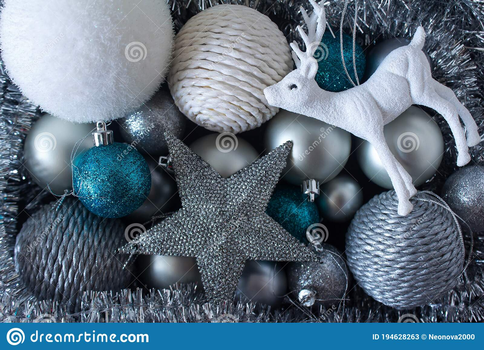 Set Of Silver Colored And Blue Christmas Tree Decoration Stock Image Image Of Deer Sparkly 194628263