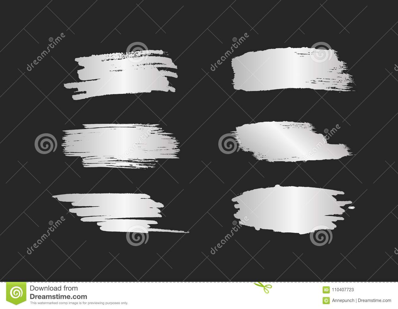 Set of silver smears. Silvery brush strokes with shine isolated on black background.