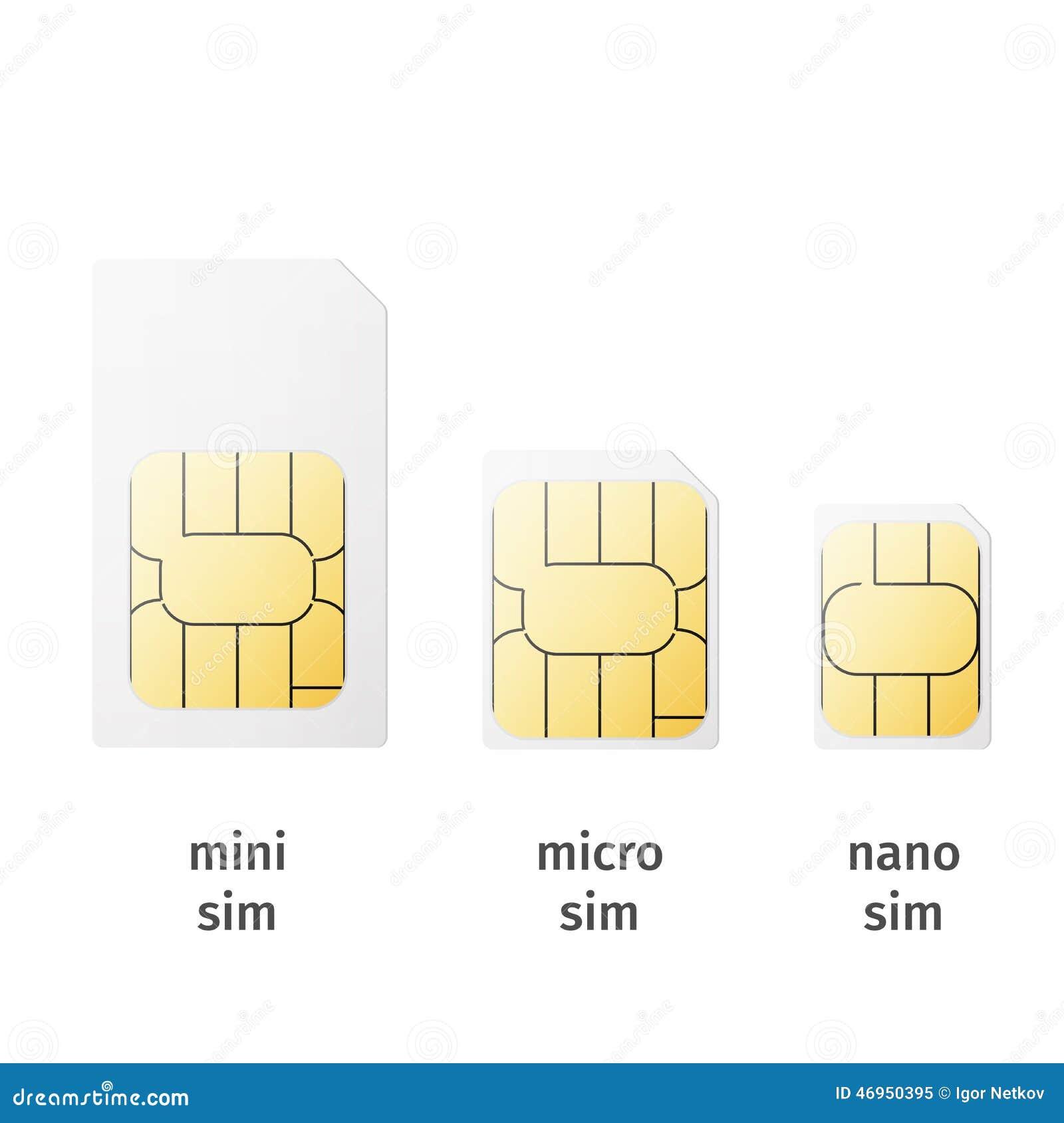 Set Of SIM Cards Of Different Sizes(mini, Micro, Nano ...