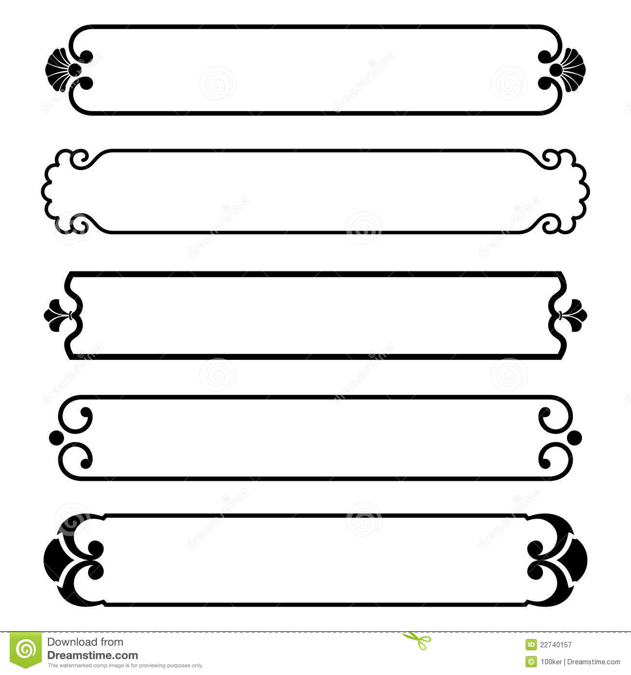 Set Of Simple Black Banners Border Frame Royalty Free Stock ...