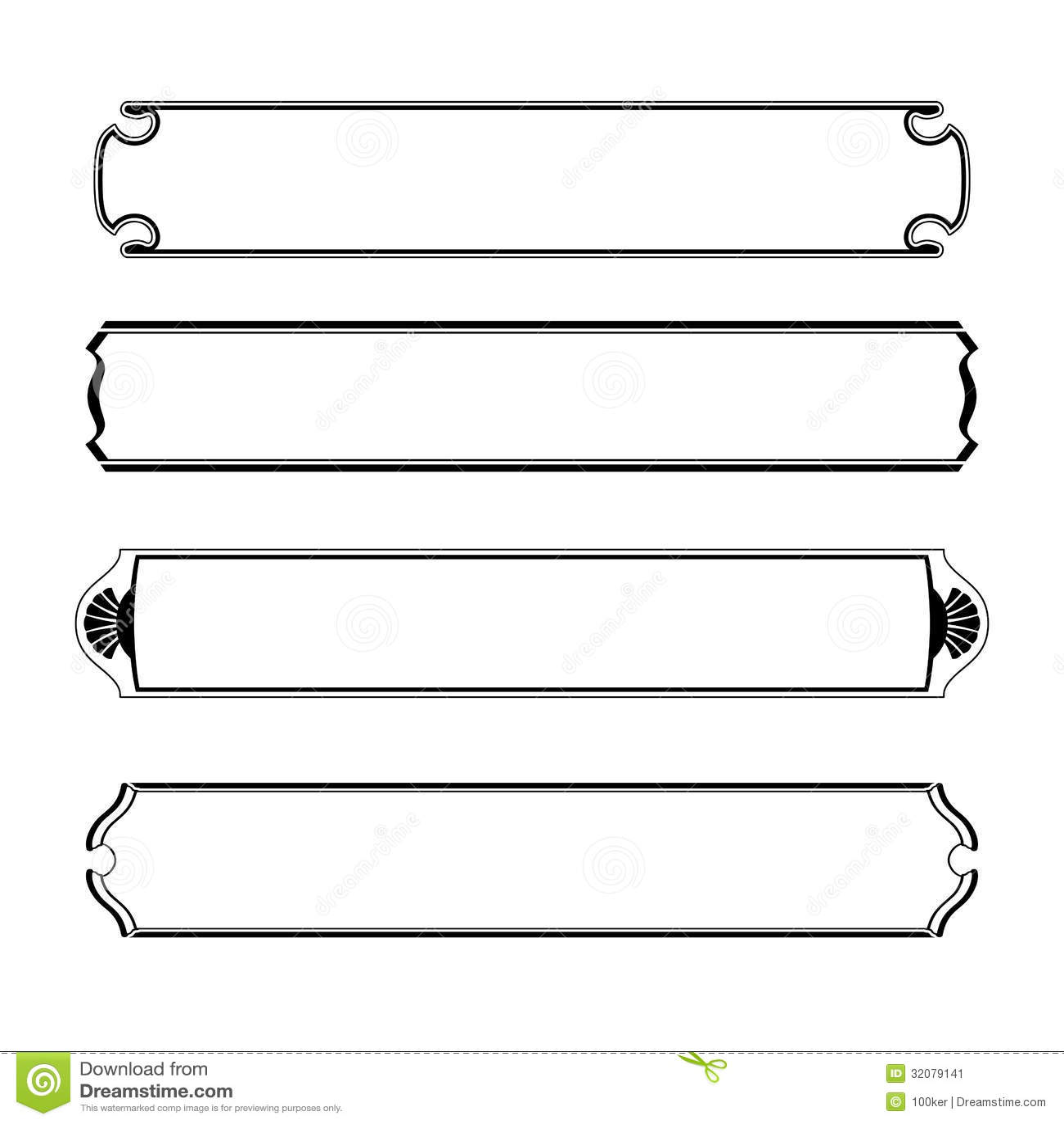 Set Of Simple Black Banners Border Frame Stock Image ...