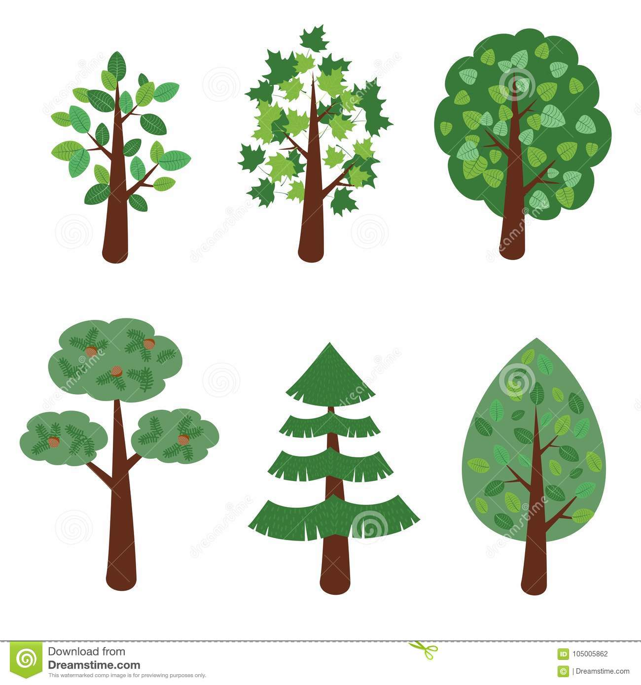Set Of Simple Cartoon Deciduous Trees And Conifers Vector Illustration Stock Vector Illustration Of Foliage Ecology 105005862 These trees are pain in the.ss for me, and ive tried so many times to paint them right, now as i am painting one. https www dreamstime com set simple cartoon tree vector illustration set simple cartoon deciduous trees conifers vector illustration image105005862