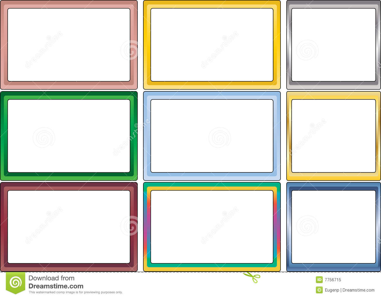 Set Of Simple Color Photo Frames Stock Vector - Illustration of ...