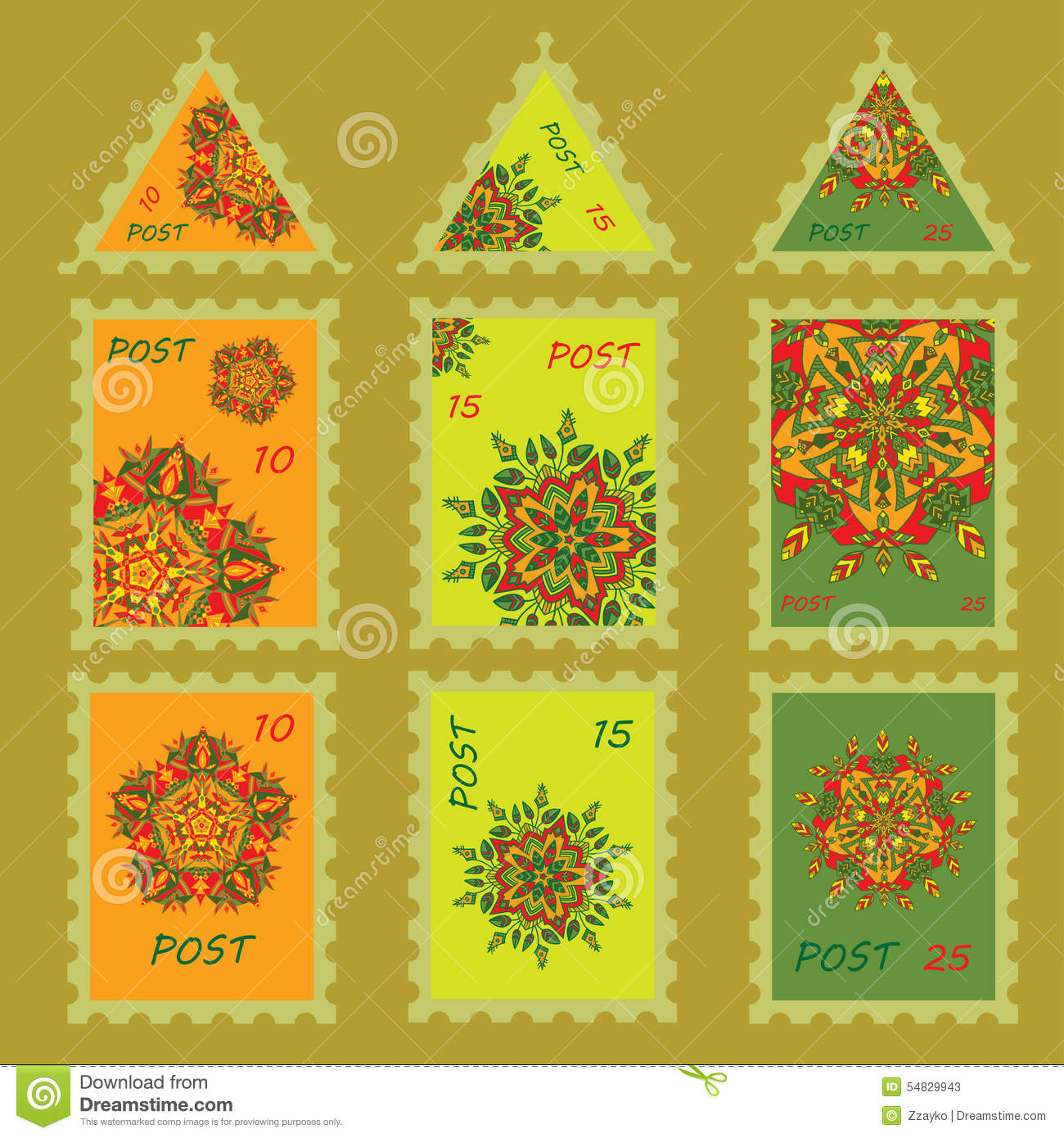 set simple design for postage stamps with hand drawn mandalas zentangl in different colors stock. Black Bedroom Furniture Sets. Home Design Ideas
