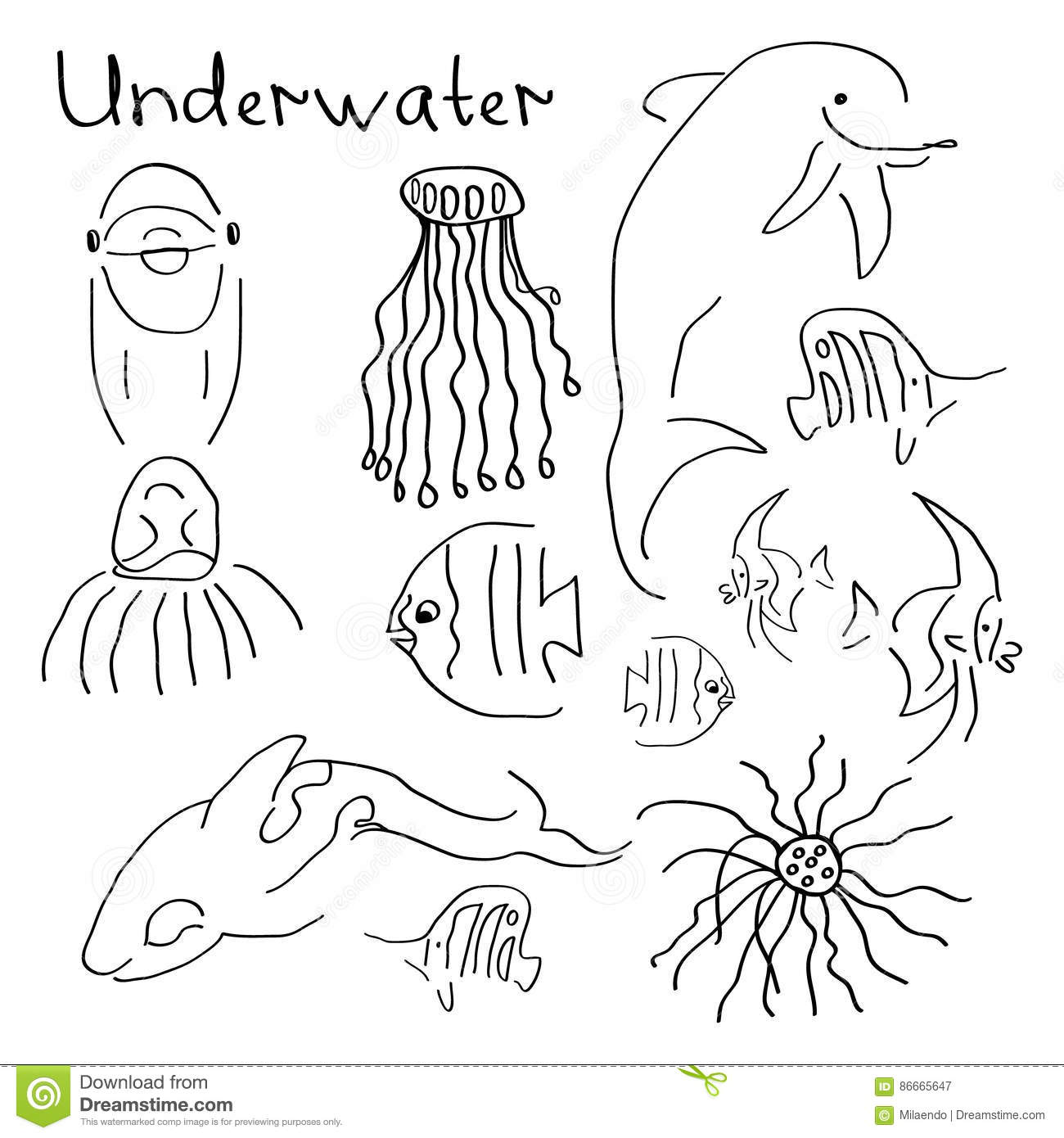A Set Of Simple Drawings On The Theme Stock Vector Illustration Of