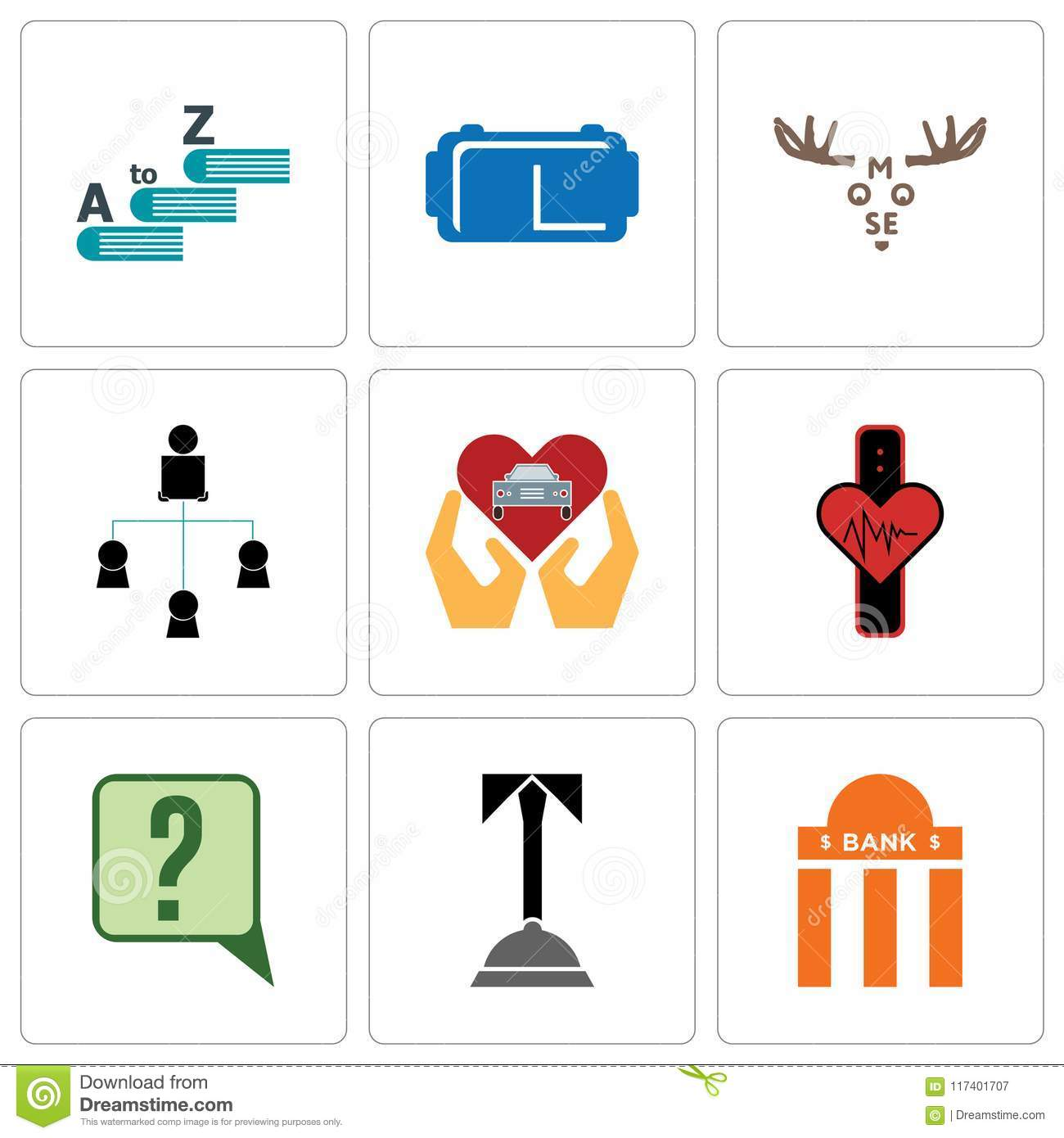 set of 9 simple editable icons such as bank branch concierge