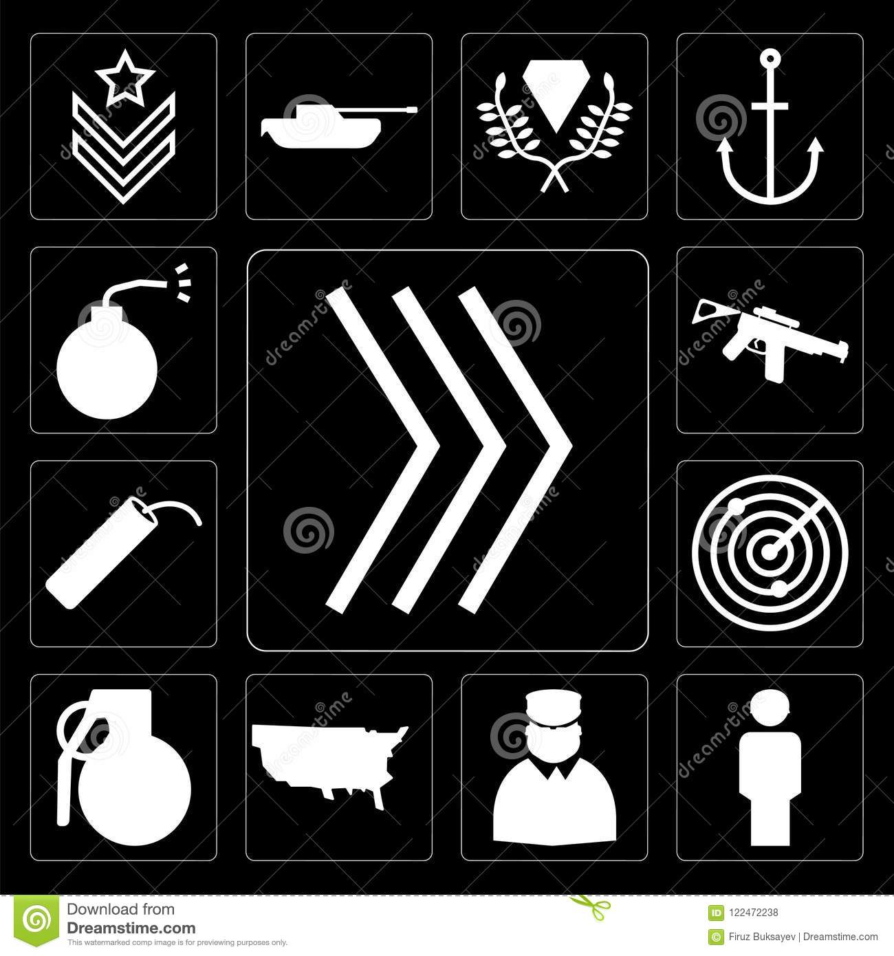 Set Of Chevron, Soldier, Soldiers And A Weapon, US Map, Grenade
