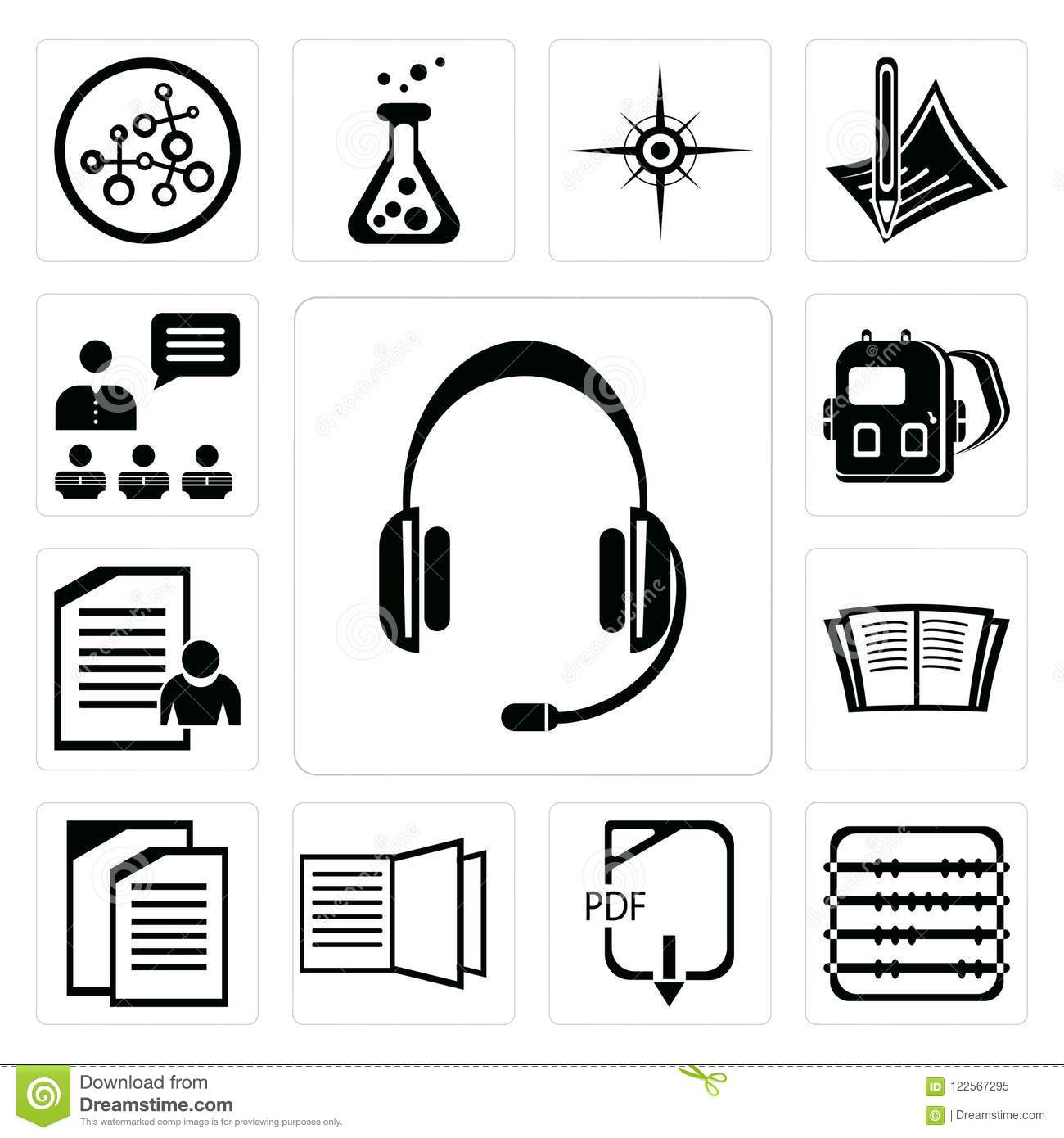 Set Of Headset Abacus Pdf Open Book Copy Exam Backpack