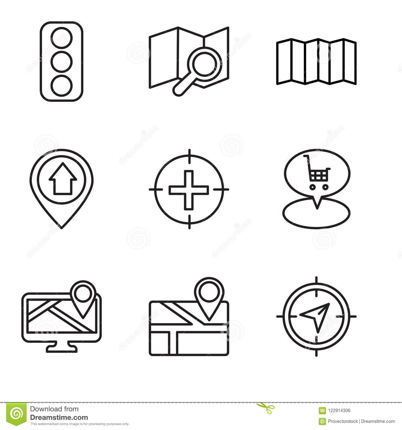 Set Of 9 Simple Editable Icons Such As Navigation Map Placeholder