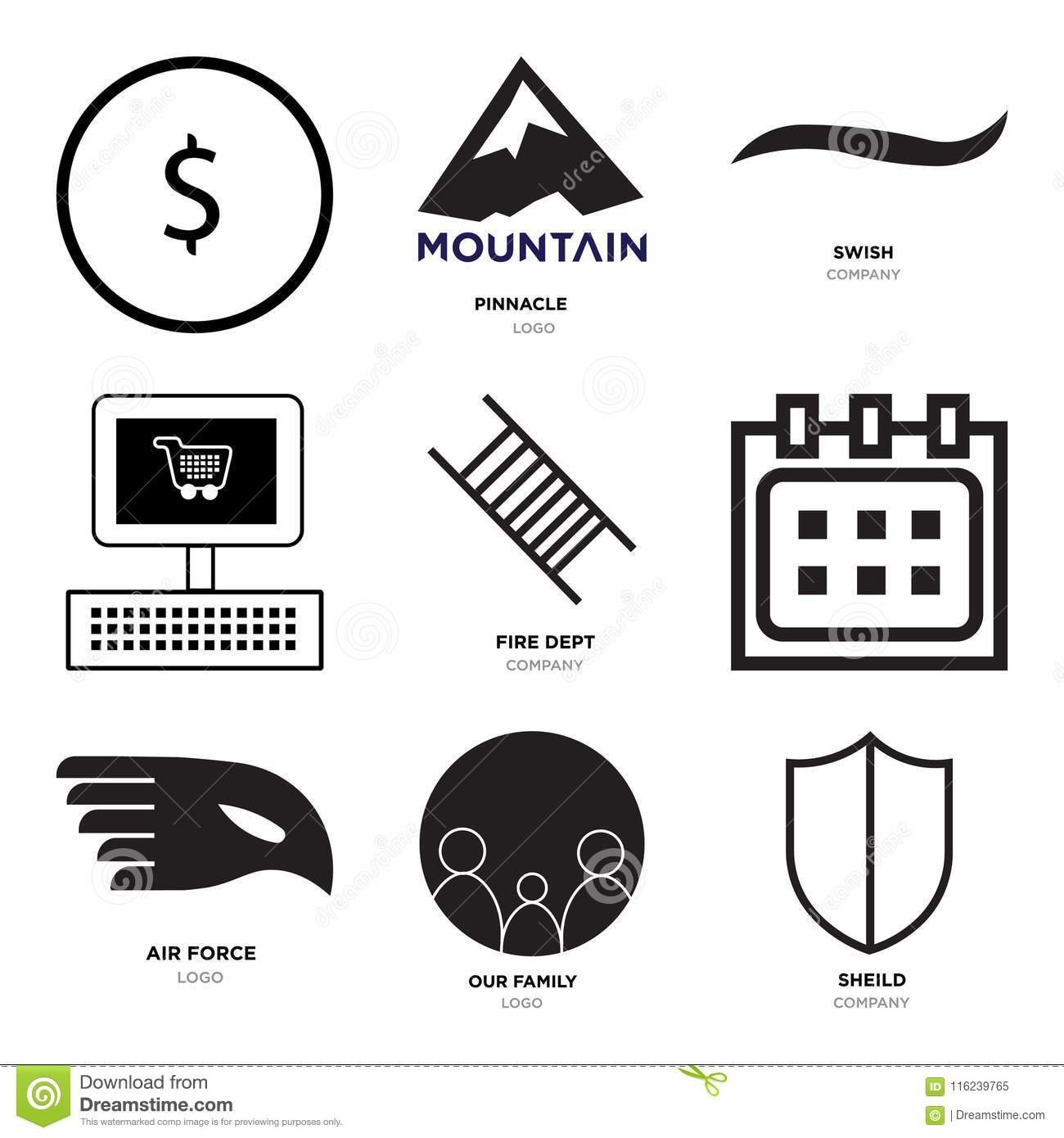 876f8112 Set Of 9 Simple Editable Icons Such As Sheild, Our Family, Air Force ...