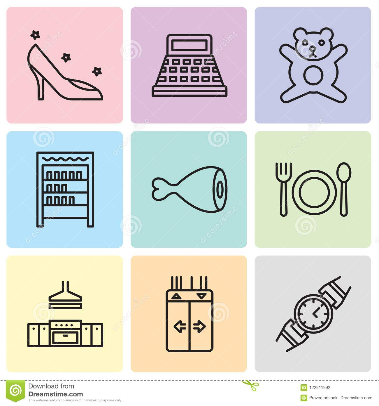 Set Of 9 Simple Editable Icons Such As Watch, Elevator, Kitchen ...