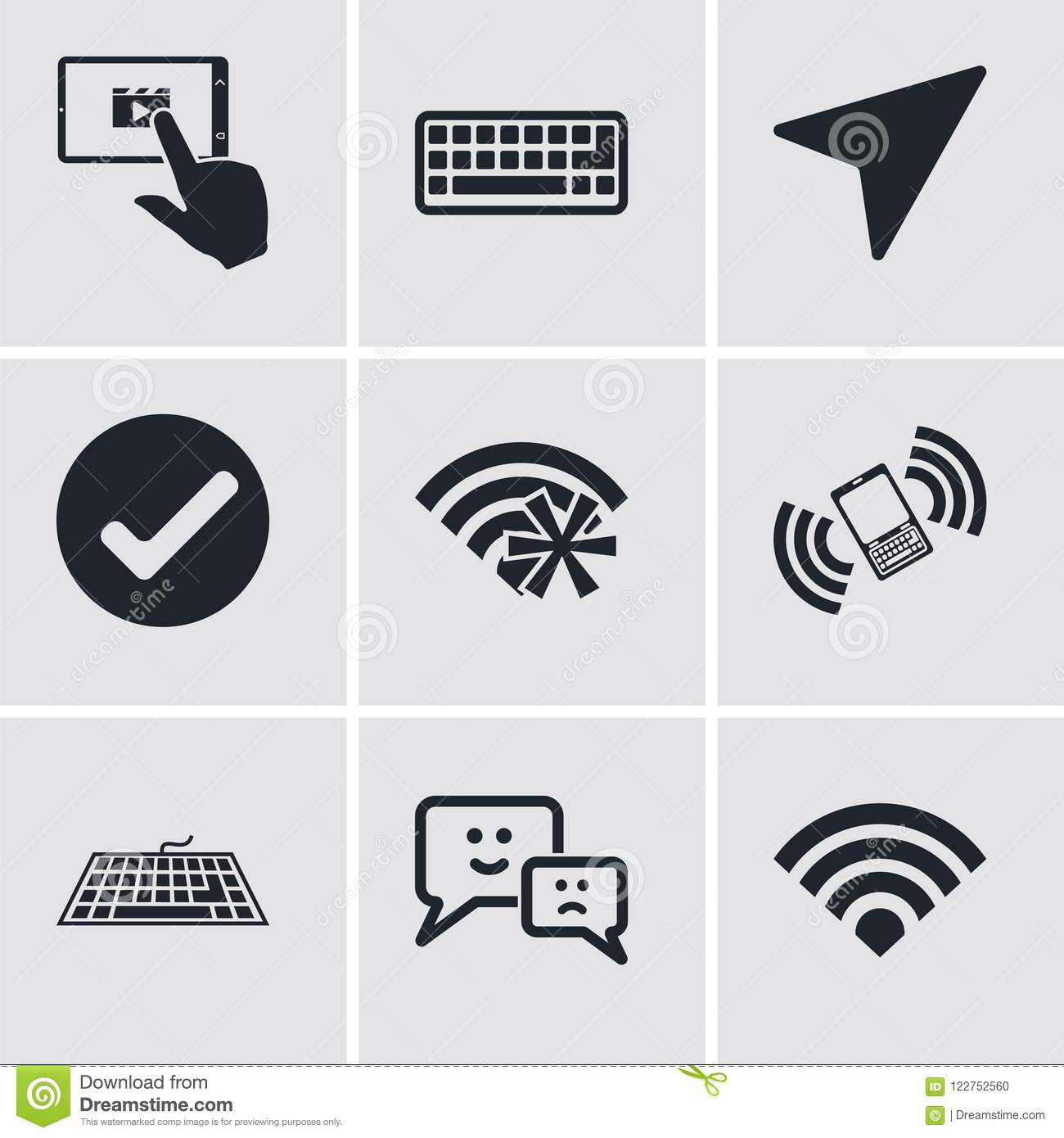 Set Of 9 Simple Editable Icons Such As Wifi Speech Keyboard Phone