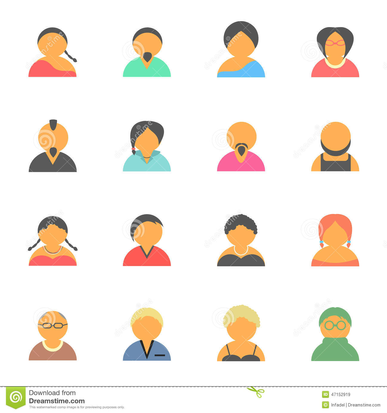 Set of simple face avatar people icons. isolated on white background ...