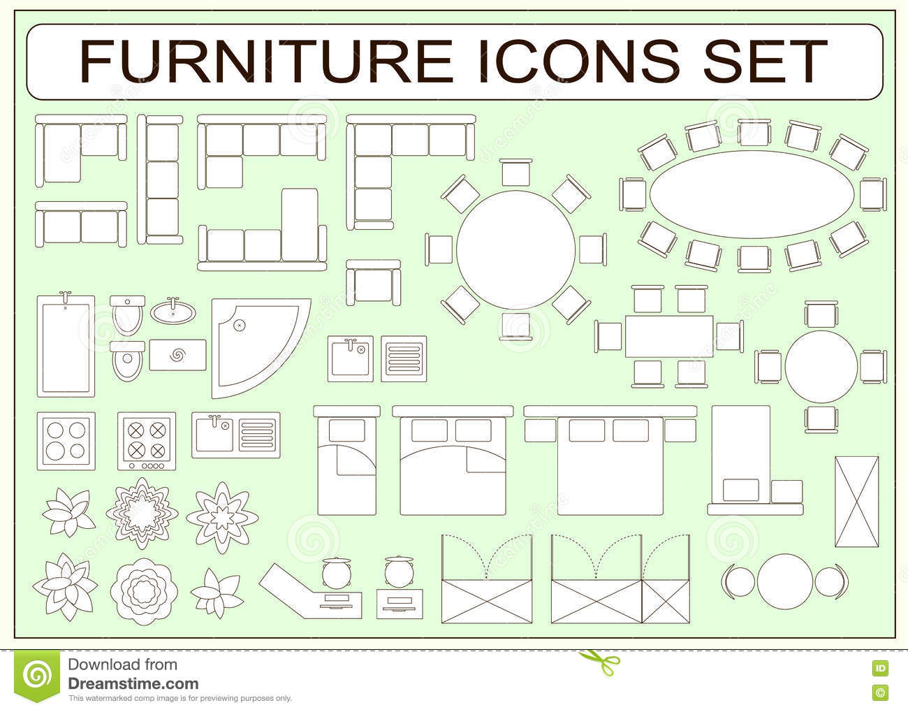 Set Of Simple Furniture Vector Icons As Design Elements Stock Vector