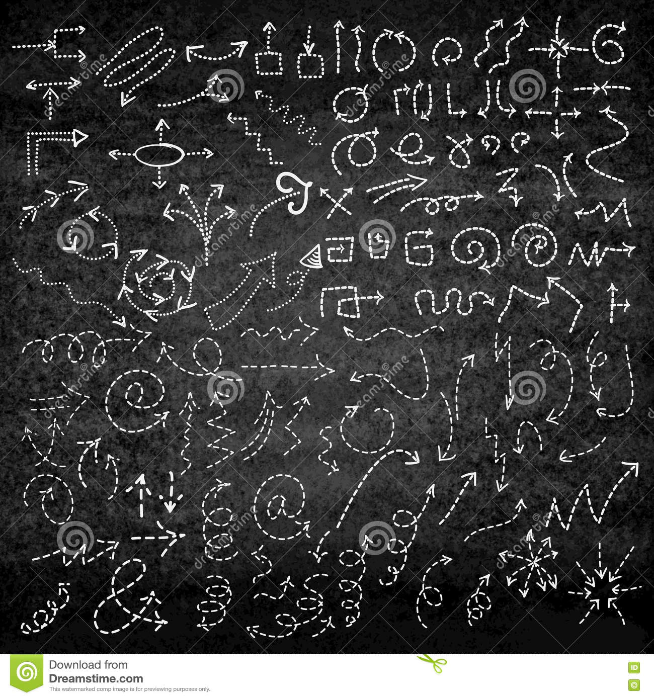 set of simple hand drawn arrows on chalkboard graphic design stock