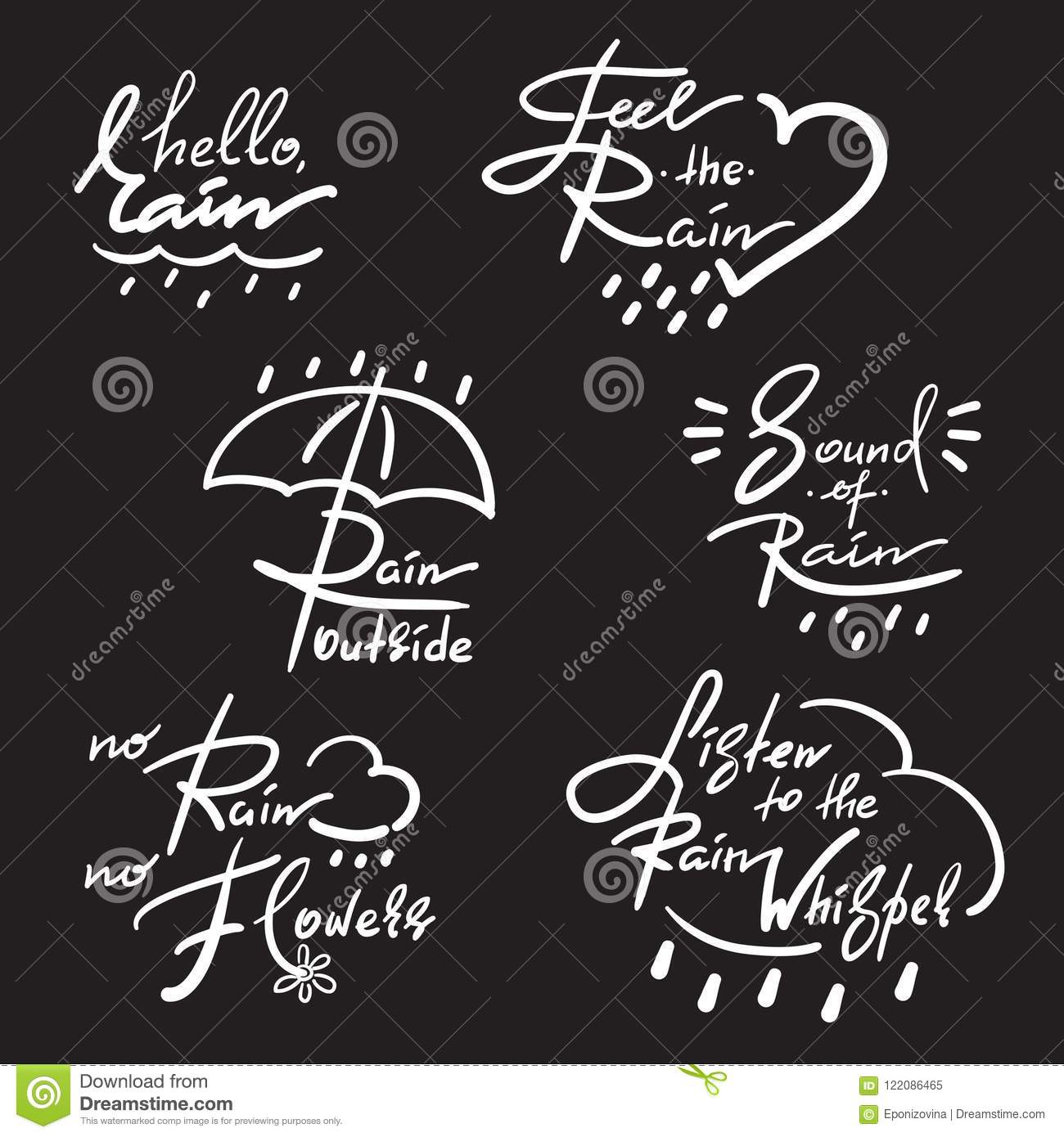 Set Of Simple Inspire And Motivational Quotes About Rain Hand Drawn