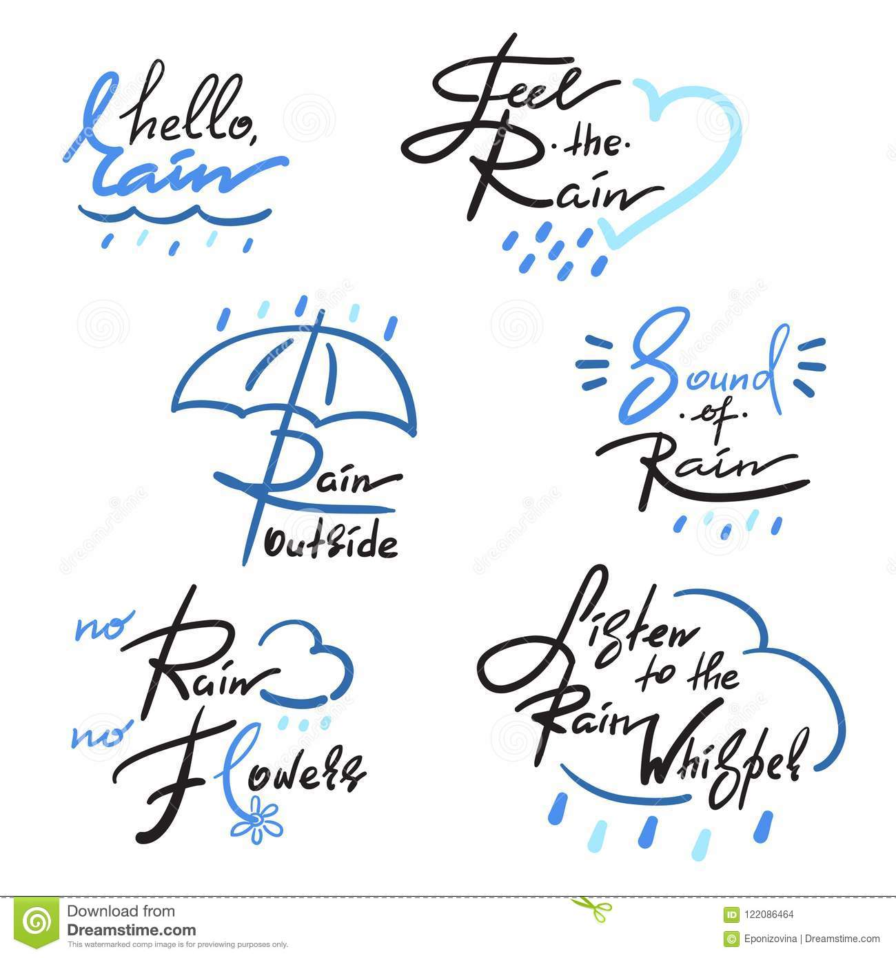 Set Of Simple Inspire And Motivational Quotes About Rain