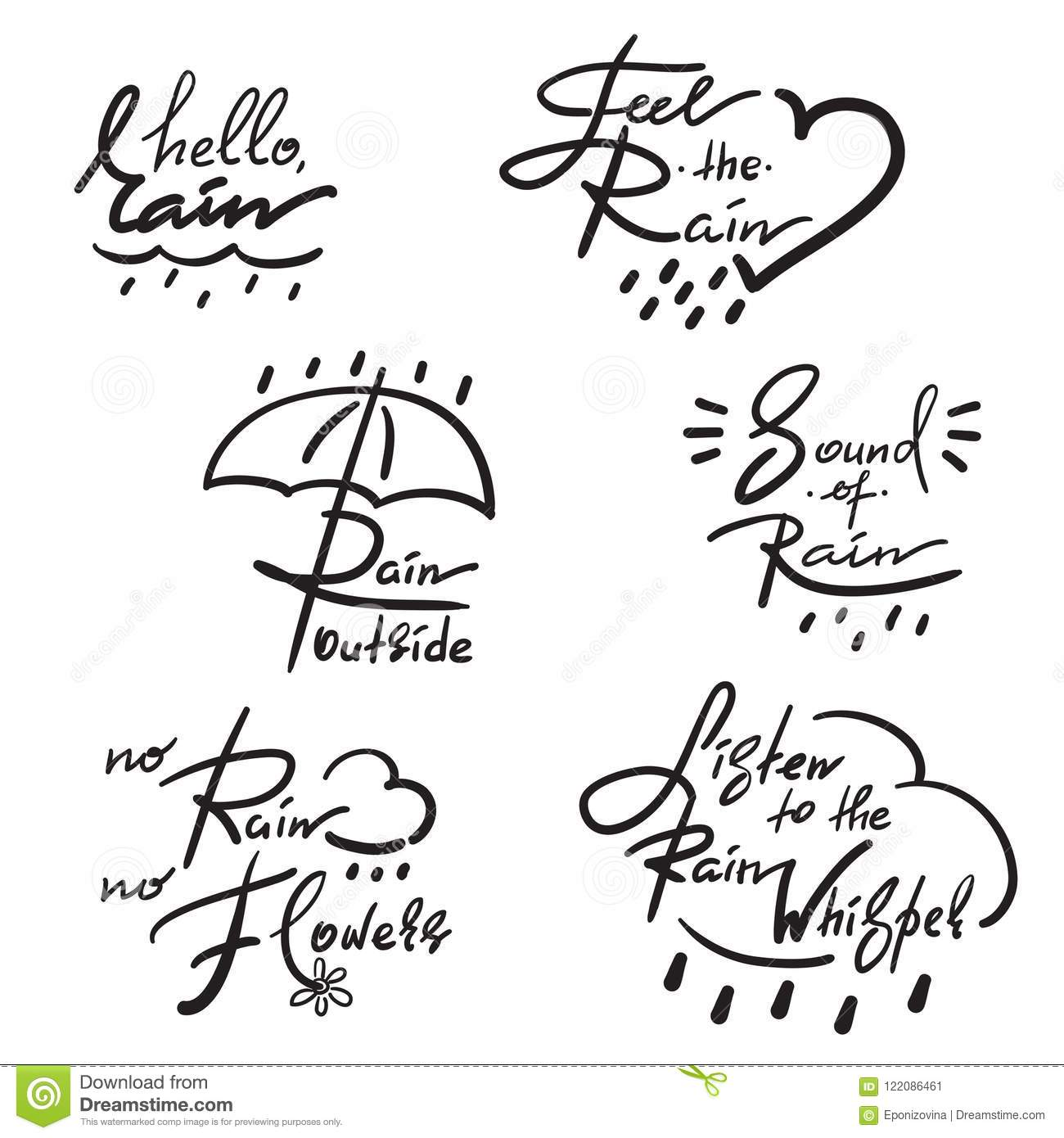 Set Of Simple Inspire And Motivational Quotes About Rain ...