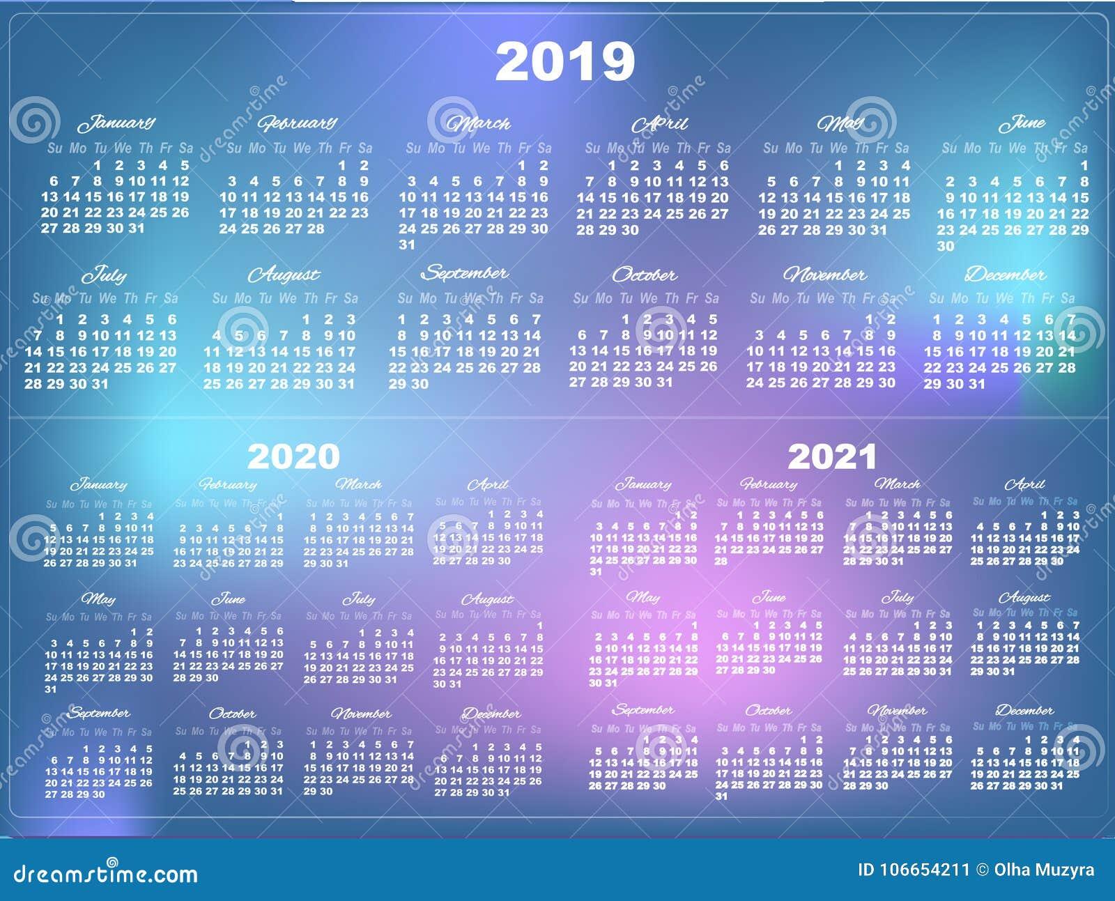 Layout Calendario 2020.Set Of White Calendars 2019 2020 And 2021 Stock
