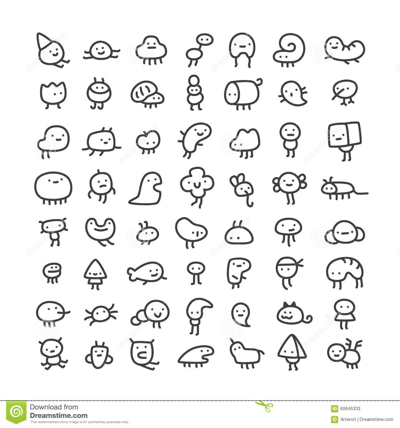 Simple Line Art Designs : Set of simple line art monster characters stock vector