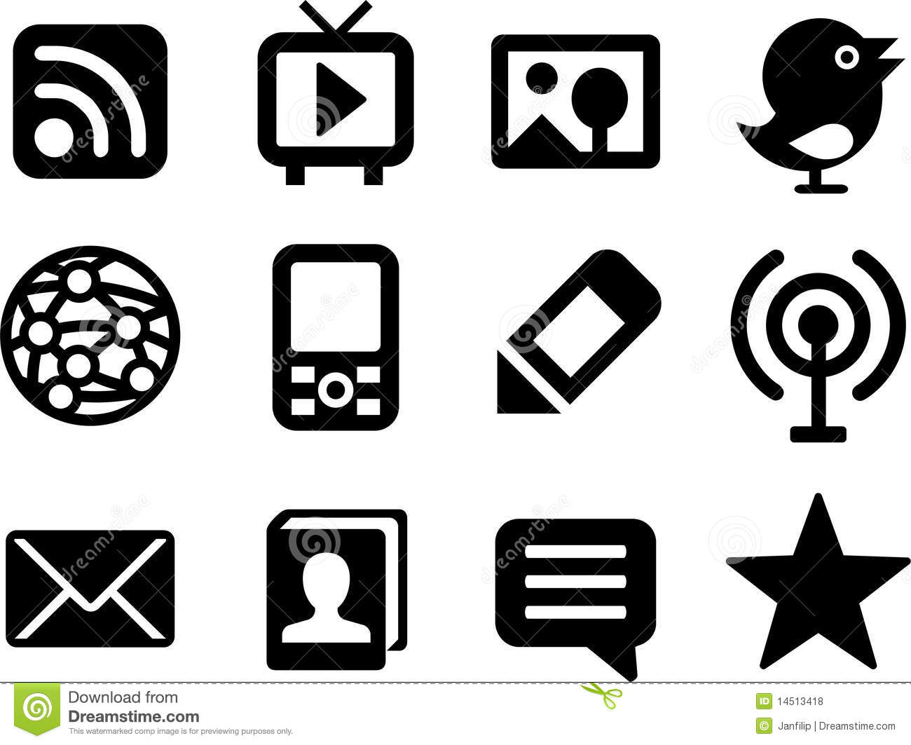 Set Of Simple Media Icons. Royalty Free Stock Photos - Image: 14513418