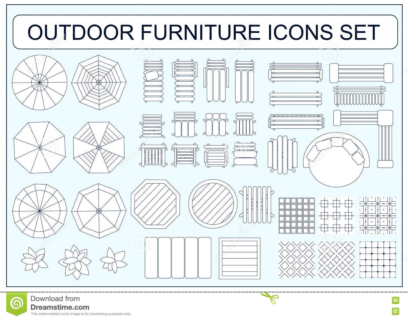 Furniture Design Elements set of simple outdoor furniture vector icons as design elements